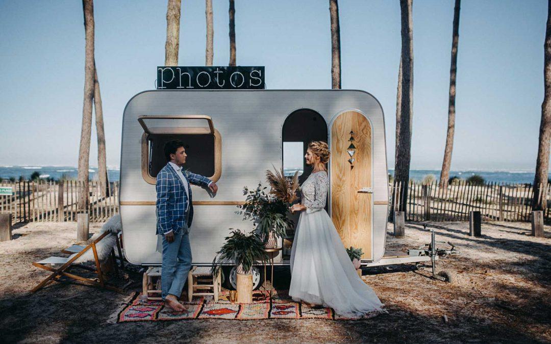 Mariage sauvage et romantique à Arcachon Photo Booth